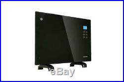 Panel Heater Radiator Electric Glass Black Portable Freestanding Wall Mounted
