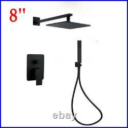 Premium Black Brass Shower Set Bathroom 8 Rianfall Head Handheld Spary Faucet