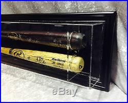 Premium Wall Mount 2 Baseball Bat Display Case, Black frame, black background