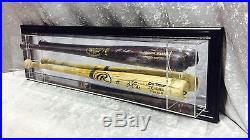 Premium Wall Mount 2 Baseball Bat Display Case, Black frame, mirror background