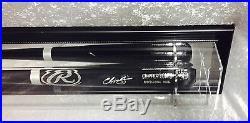 Premium Wall Mount Baseball Bat Display Case, Black frame with Mirror Back