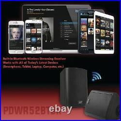 Pyle 240 Watt Wall Mount Waterproof & Bluetooth 5.25 Indoor/Outdoor Speakers