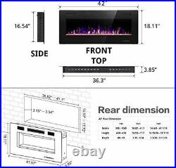 R. W. FLAME Electric Fireplace 42 inch Recessed and Wall Mounted, Thinnest