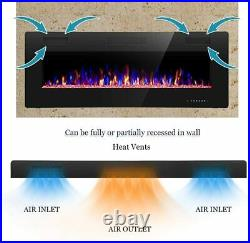 R. W. FLAME Electric Fireplace 50 inch Recessed and Wall Mounted, Thinnest