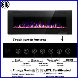 R. W. FLAME Electric Fireplace 60 inch Recessed and Wall Mounted, Thinnest