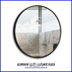 Round Wall Mirror Modern Bathroom Vanity Mount Framed Beveled Metal Frame Home