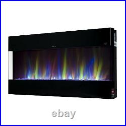 Small 42 Electric Wall Mounted Fireplace Suite Black Glass Mirrored LED Flames