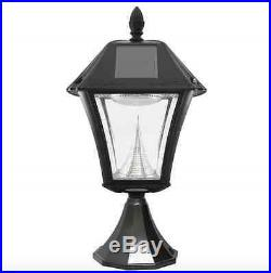 Solar LED Black Outdoor Street Post Pole Wall Mount Light Lamp Lighting Fixture