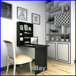 Space Saving Floating Desk Wall Mounted Fold-Out Table for Home& Office Black