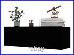 TV Stand Black Floating Wall Mounted Media Storage Cabinet Entertainment Center