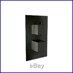Thermostatic Shower Wall Mounted 200mm Head Concealed Valve Bathroom Kit Black