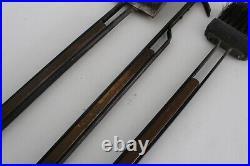 Tony Paul Vtg Mid Century Modern Wrought Iron Wood Wall Mount Fireplace Tools