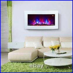 Truflame Log White Curved Wall Mounted Electric Fire 7 Colour Led Flame Effect
