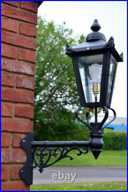 USED Ex-Display 88cm Black Victorian Garden Wall Light Set With Corner Bracket
