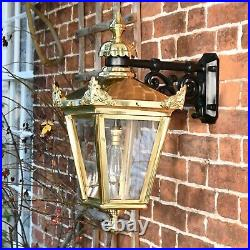 USED Ex-Display Brass Victorian Wall Mounted Lantern With Black Top Fix Bracket