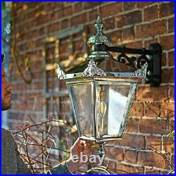 USED Ex-Display Chrome Victorian Wall Mounted Lantern With Black Top Fix Bracket