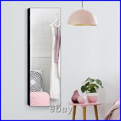 Wall&Door Mounted Jewelry Cabinet Lockable Storage Organizer with Frameless Mirror