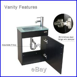 Wall Mount 19 Bathroom Vanity Cabinet WithGlass Sink Faucet Drain Combo P-Trap