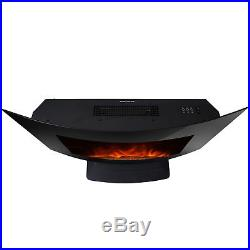 Wall Mount Backlit Electric Fireplace 3D Flame Remote Control Adjustable Heater