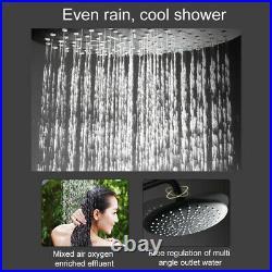 Wall Mount Bathroom Black Rain Brass Shower Head Faucet Hand Spray Mixer Tap Set