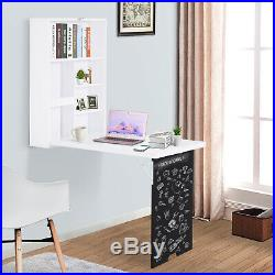 Wall Mount Folding Computer Desk with Storage, Blackboard and Simple Design