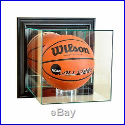 Wall Mount Glass Full Size Basketball Display Case Uv Protection Black