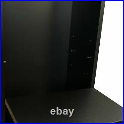Wall Mount Salon Station Barber Station with Drawers Lockable Left Shelf Black