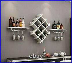 Wall Mount Wine Rack Bottle Glass Holder 4 Shelves Bar Accessories Shelf Metal