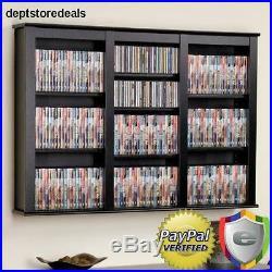Wall Mounted DVD CD Home Storage Shelf Cabinet Media Rack Organizer Games Holder
