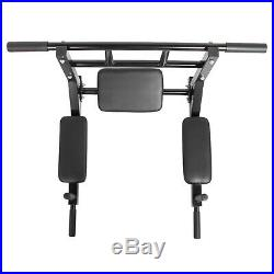 Wall Mounted Pull Up Bar Vertical Knee Raise Dip Station Exercise Equipment Home