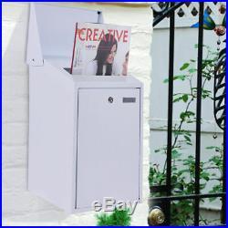 White Vertical Lockable Mailbox Wall Mount Galvanized steel With Door &2 keys