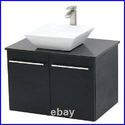 WindBay 24 wall mount floating bathroom vanity sink set. Black