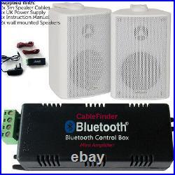 Wireless/Bluetooth Amplifier & 2x 60W Wall Mounted Speaker Kit HiFi Amp System