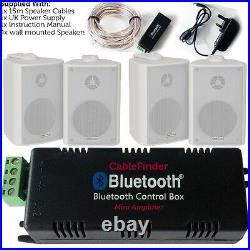 Wireless/Bluetooth Amplifier & 4x 60W Wall Mounted Speaker Kit HiFi Amp System