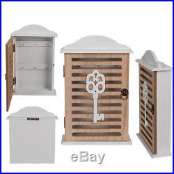 Wooden Key Cabinet Retro Design Wall Mounted 6 Hook Holder Storage Cabinet White